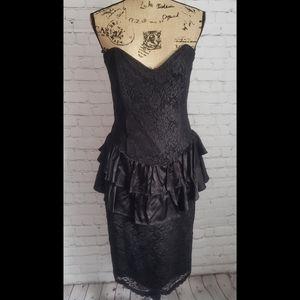 Vintage 80's Scott MCclintock Black Dress Straples